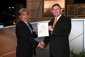 Jim Swehla, President of West Star Aviation and Premier Aircraft, and Ken Shimabukuro, program manager, with the EASA Certification of the 50Dash4 Performance Upgrade for the Falcon 50 business jet.